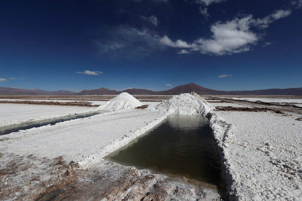 Brine pools are pictured at the Rincon Mining lithium camp, at the Salar del Rincon salt flat, in Salta, Argentina August 12, 2021.