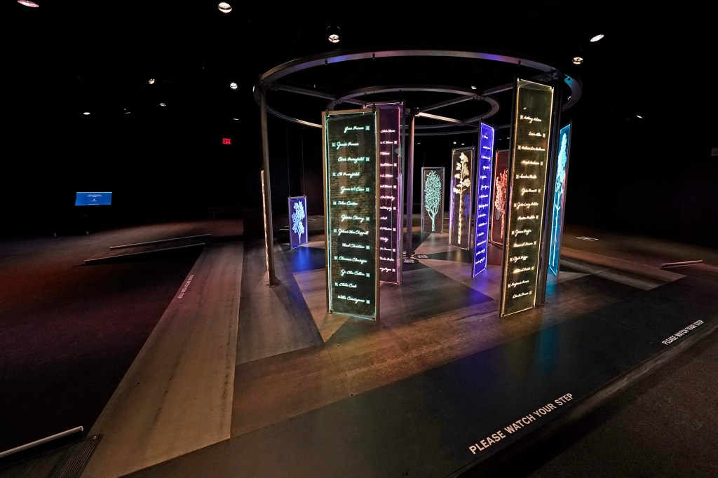 """The PBS Frontline's traveling augmented-reality exhibit, """"Un(re)solved"""", rests in the special exhibit room of the Two Mississippi Museums in Jackson, Friday, Aug. 27, 2021."""
