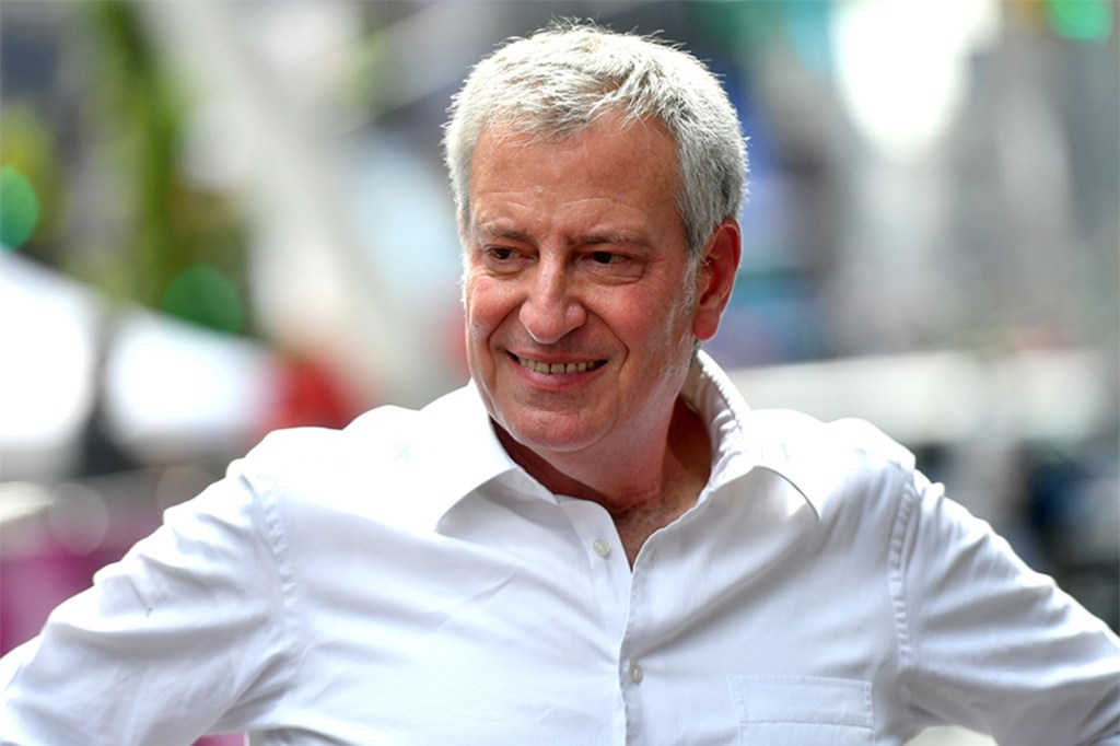 """Mayor Bill de Blasio touted that he and Democratic mayoral nominee Eric Adams see """"eye to eye"""" on most issues."""