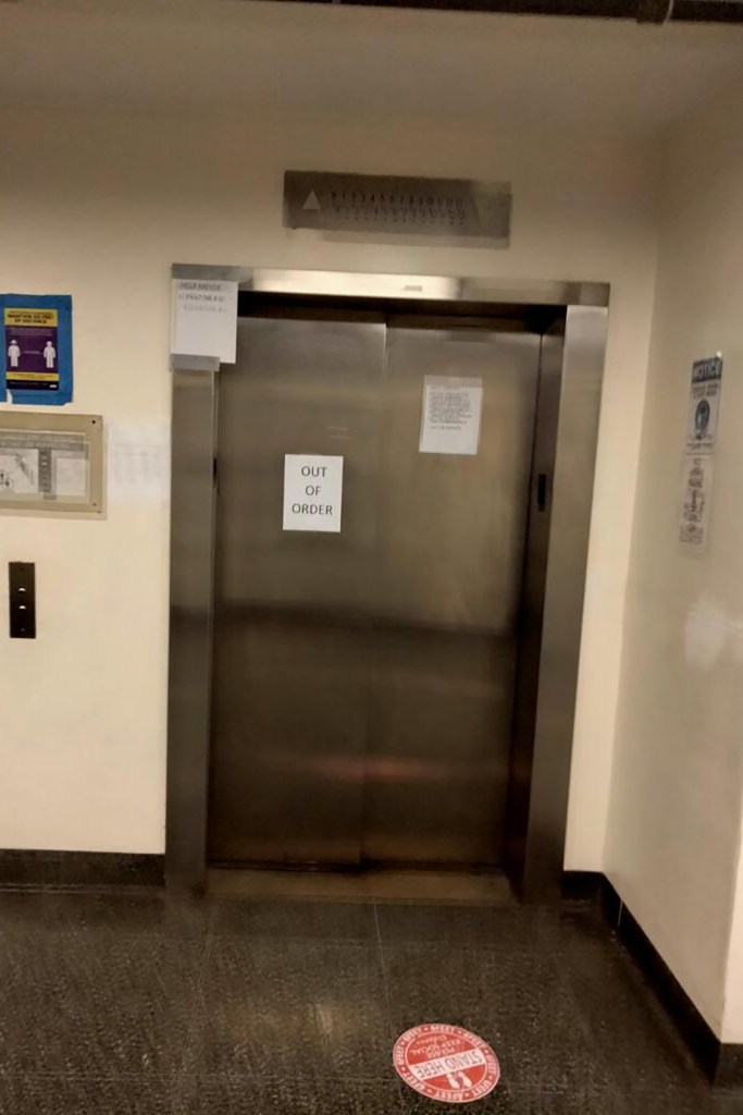 Broken elevators inside the HELP Meyer Mental Health Shelter at Wards Island, where a man spent as many as four nights trapped before being rescued on Sunday.