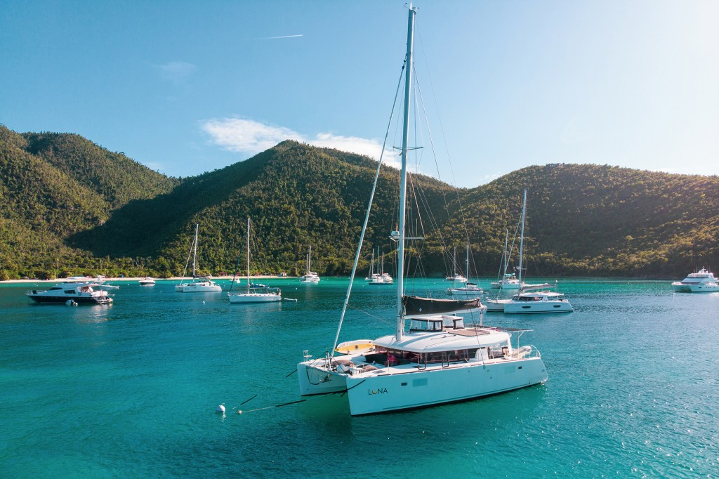 A view of a 2019 Lagoon 450S model used by Nim and Fabiola Hirschhorn to serve customers for their sailing vacation company.