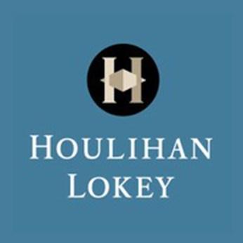 A white Houlihan Lokey logo on a blue background