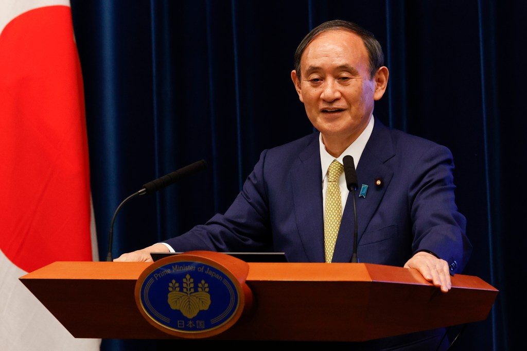 Japan's Prime Minister Yoshihide Suga speaks during a press conference at the prime minister's official residence Tuesday, Sept. 28, 2021, in Tokyo.