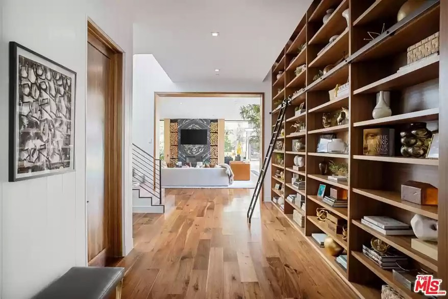A family room in the Los Angeles house is pictured from the hallway.
