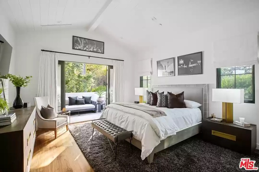 One of the Los Angeles bedrooms is pictured.