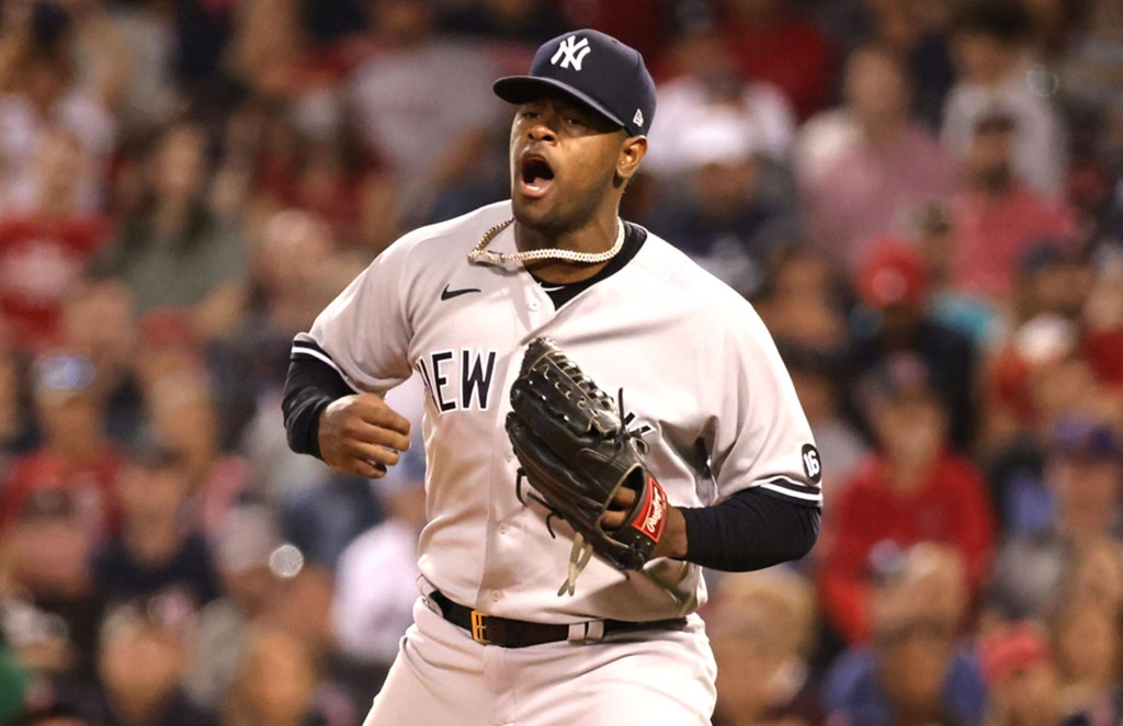 Luis Severino celebrates after striking out J.D. Martinez to end the eighth inning of the Yankees' 5-3 win over the Red Sox.