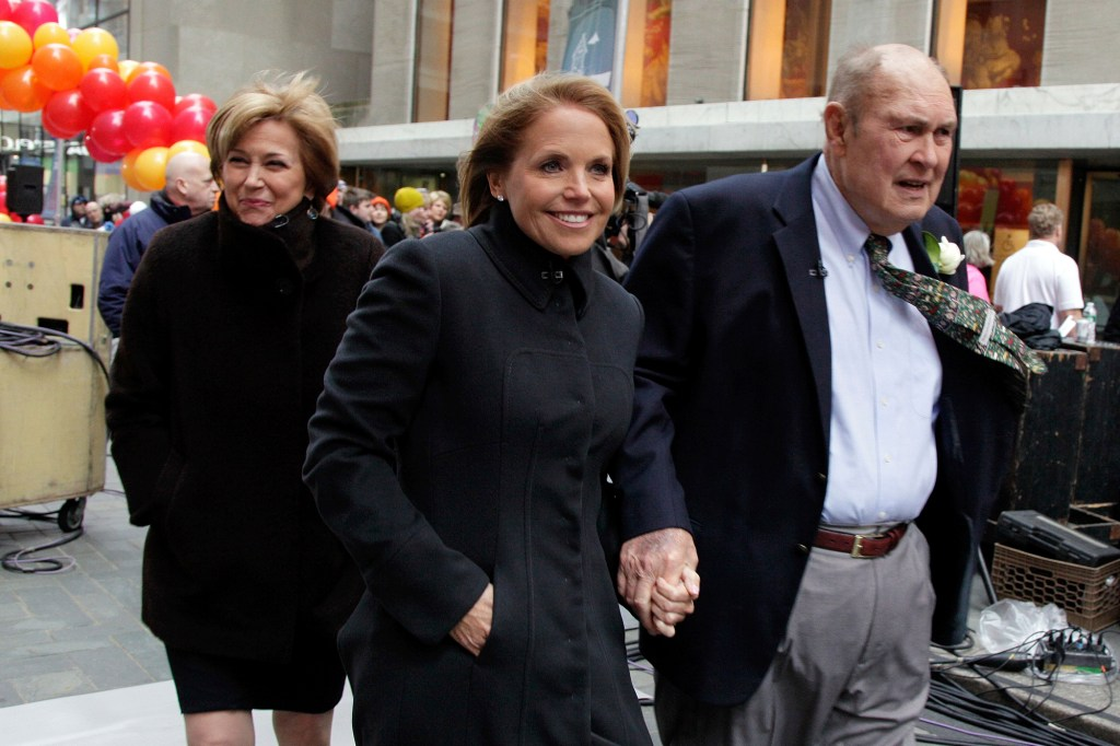 """NBC """"Today"""" hosts Jane Pauley, Katie Couric, and Willard Scott arrive for a group photo in the Rockefeller Center on Jan. 13, 2012."""