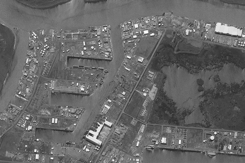 A satellite image shows oil docks destroyed and damaged by storms of Hurricane Ida in Port Fourchon, Louisiana on September 2, 2021.