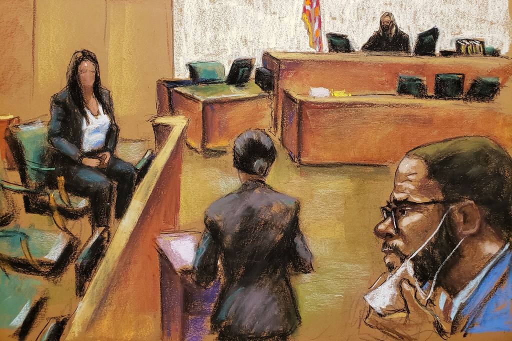 """""""Sonia"""" (Jane Doe 3) is questioned by prosecutor Maria Melendez as she testifies during R. Kelly's sex abuse trial at Brooklyn's Federal District Court in a courtroom sketch in New York, U.S., September 9, 2021"""
