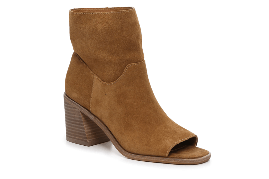 A brown suede bootie with an open toe