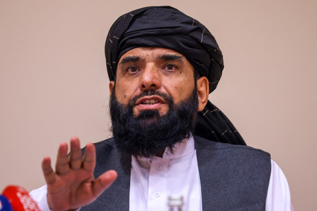 Taliban negotiator Suhail Shaheen attends a press conference in Moscow on July 9, 2021.