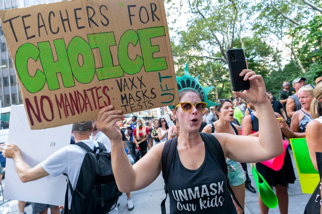NYC teachers rallied at a demonstration against COVID-19 vaccination mandates in August.