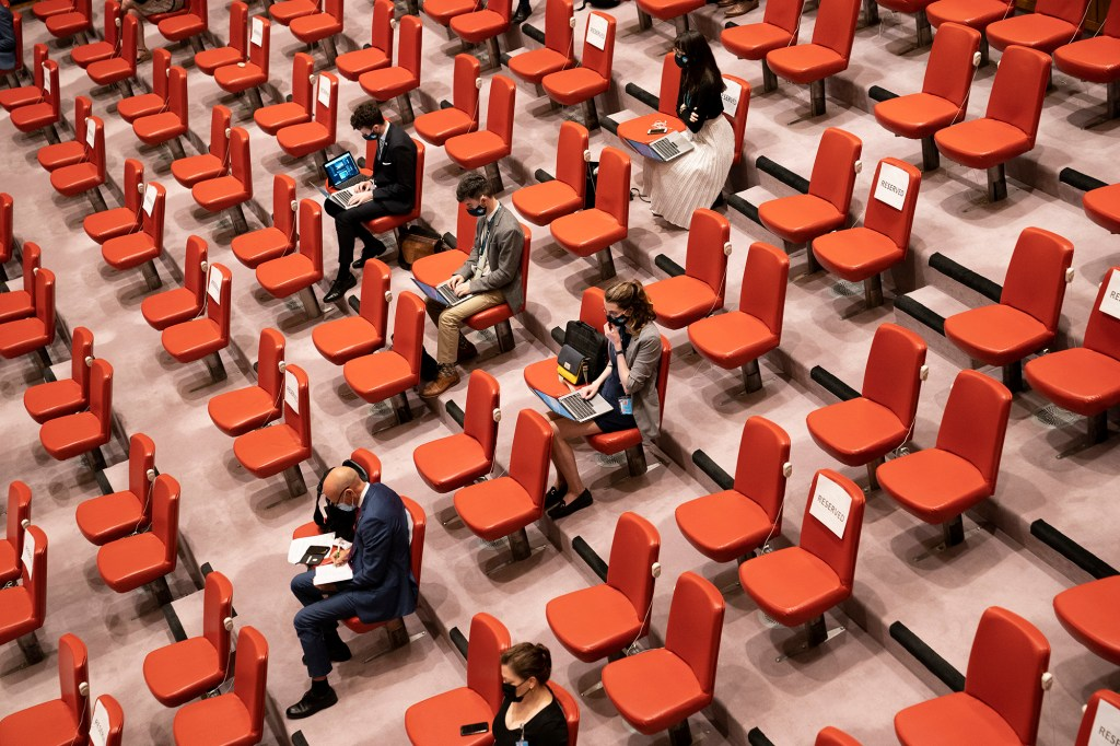 Seats remain empty in the press gallery as COVID-19 prevention protocols are observed during a meeting of the United Nations Security Council, Thursday, Sept. 23, 2021, during the 76th Session of the U.N. General Assembly in New York.