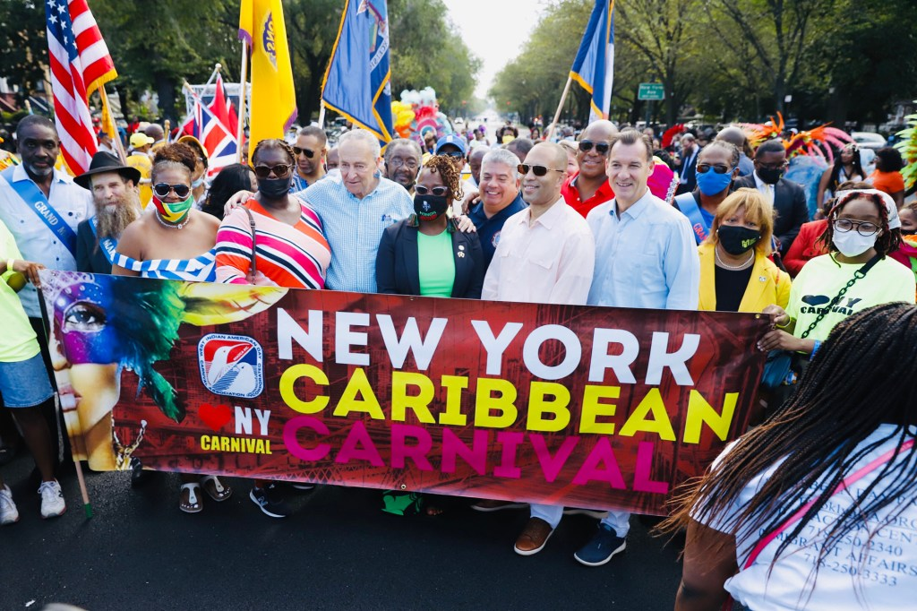 Senator Chuck Schumer (L) and Brooklyn DA Eric Gonzales (C) prior to the scaled down West Indian Day Parade