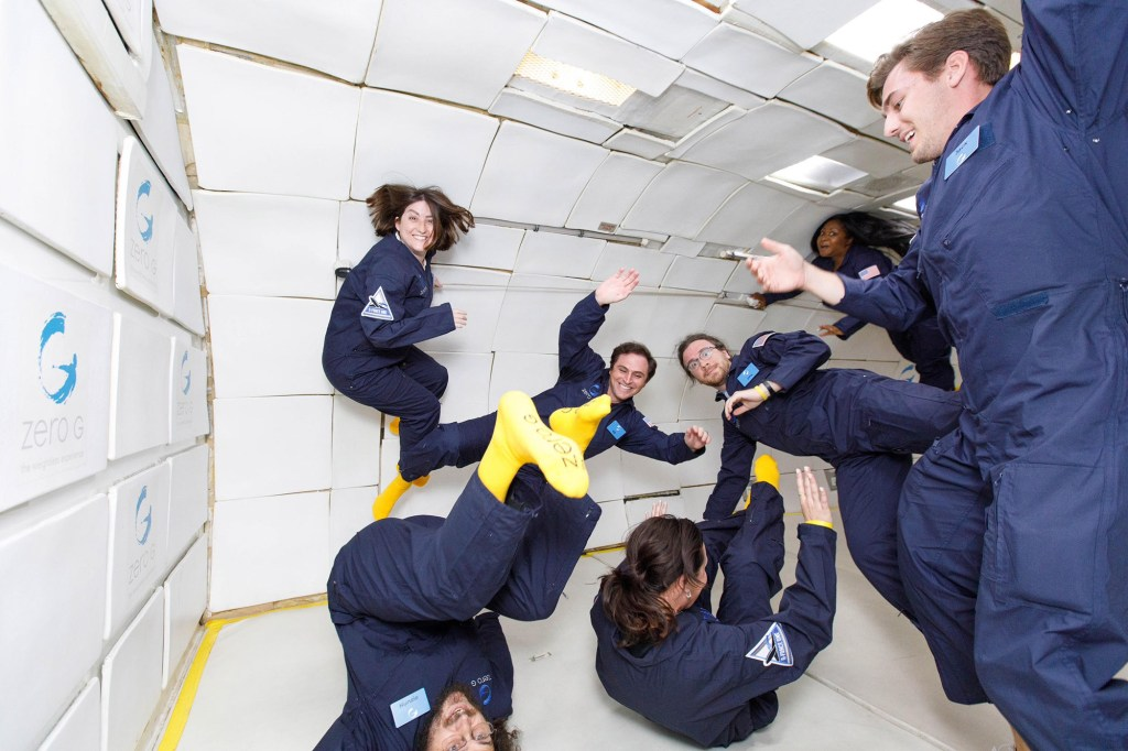 Grace and her Zero-G passengers enjoy just under eight minutes  of gravity-free floating.