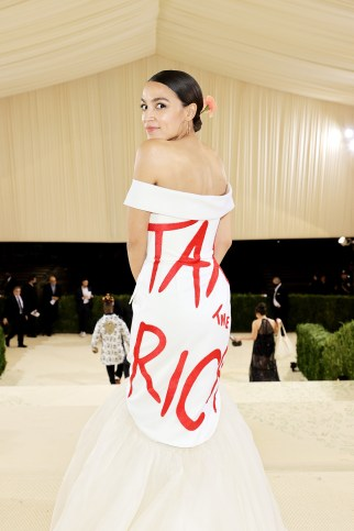 Alexandria Ocasio-Cortez departs The 2021 Met Gala Celebrating In America: A Lexicon Of Fashion at Metropolitan Museum of Art on September 13, 2021 in New York City.