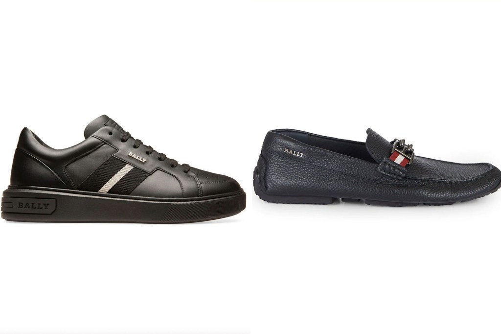 A side by side image of a black sneaker and a men's black loafer shoe