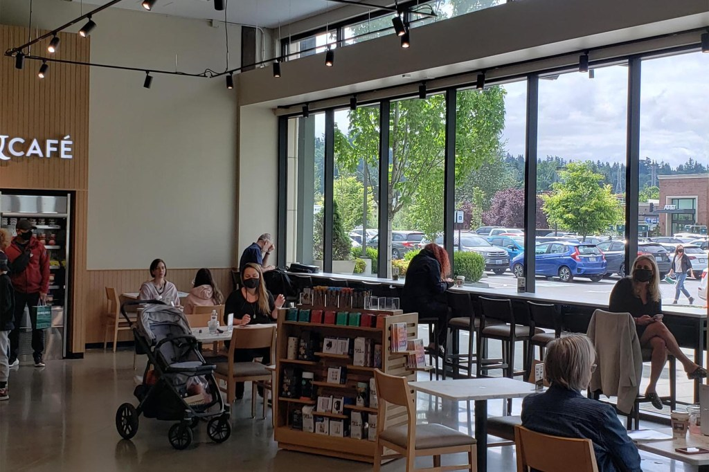 A Barnes & Noble cafe with picture windows