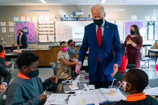 President Joe Biden talks to students at Brookland Middle School on Friday, September 10, 2021.