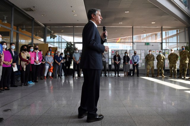 Secretary of State Antony Blinken speaks during a meeting with Evacuation Operations staff at Ramstein Air Base Germany on September 8, 2021.