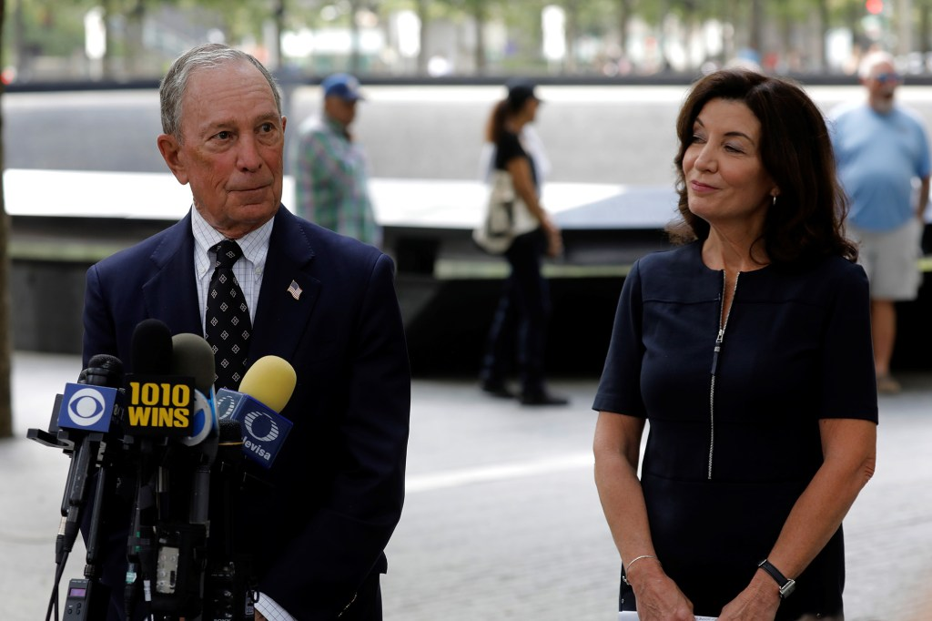 New York Governor Kathy Hochul along with former New York City Mayor and Chairman of the 9/11 Memorial & Museum Michael Bloomberg, speak to the press after visiting the Memorial ahead of the 20th anniversary of the 9/11 attacks in lower Manhattan in New York City, New York, U.S., September 8, 2021