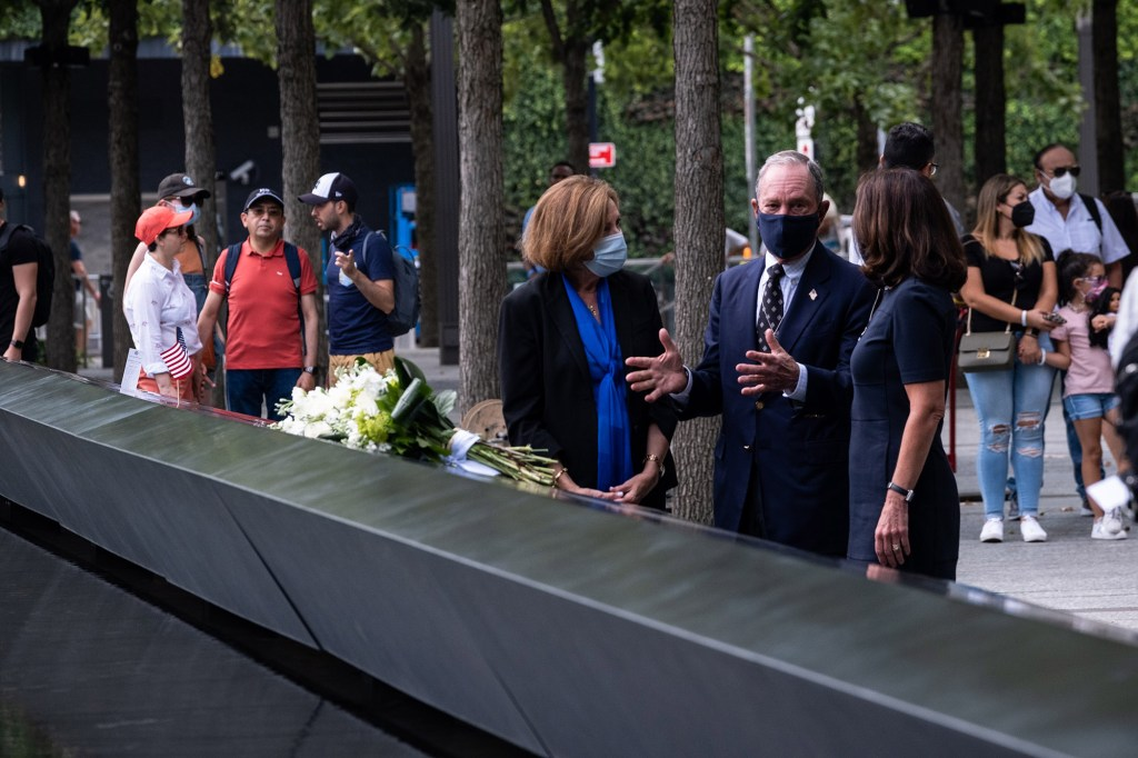 Gov. Kathy Hochul and former NYC mayor Michael Bloomberg visit the World Trade Center memorial pool on September 8, 2021.