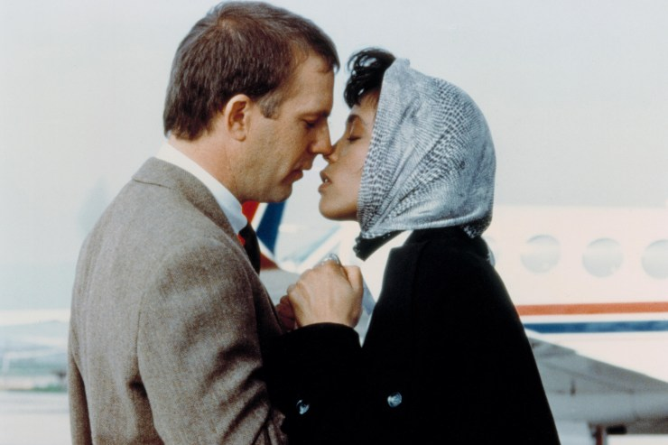 Whitney Houston and Kevin Costner embrace in the final scene from 1992's 'The Bodyguard.'