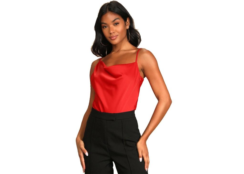Stuck On You Red Satin Asymmetrical Cowl Neck Bodysuit