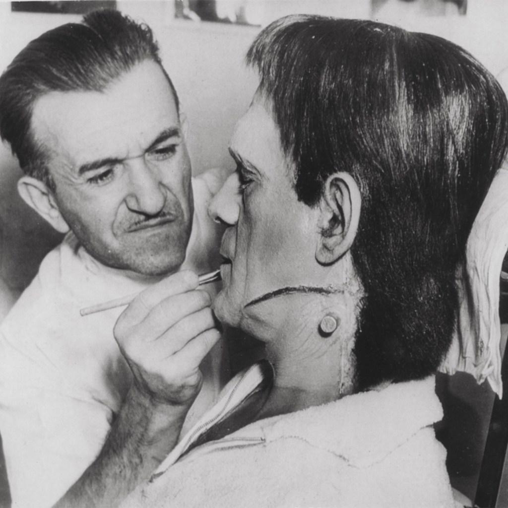 Karloff getting into the Frankenstein makeup