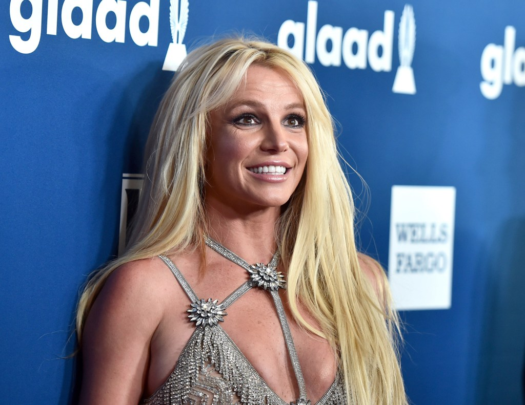 Britney Speras smiles for the cameras wearing a silver dress while standing against a blue backdrop in 2018.