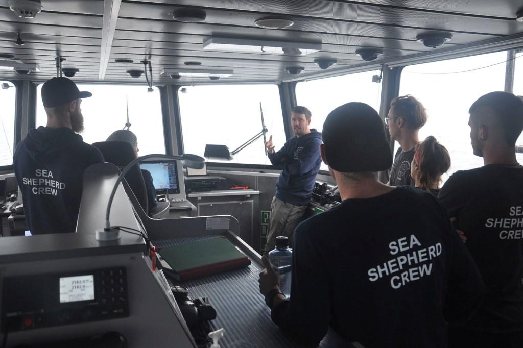 Capt. Peter Hammarstedt, campaign director of Sea Shepherd, addresses the crew of the Ocean Warrior on July 13, 2021.
