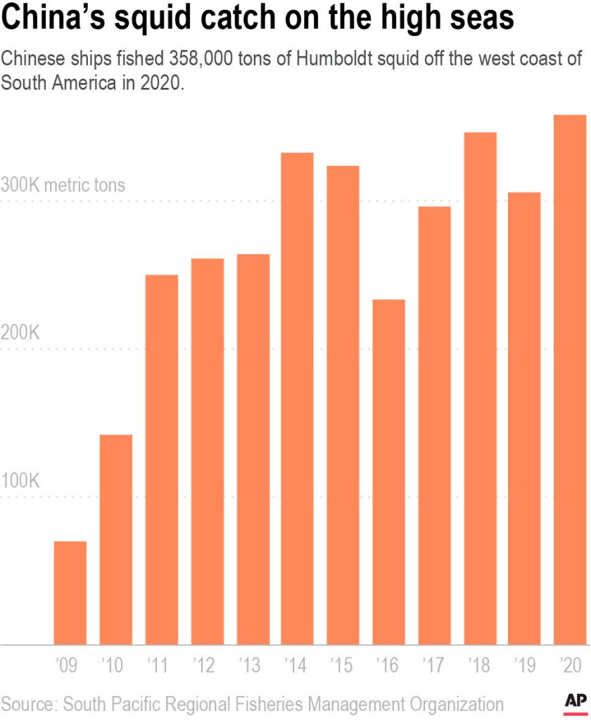 The size of Humboldt squid catch of the overseas Chinese fishing fleet since 2009.
