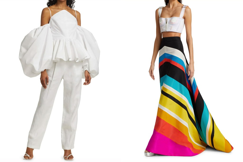 A side by side image of two models, one in a white puffy blouse and white pants and one in a neon colored skirt and white bra top