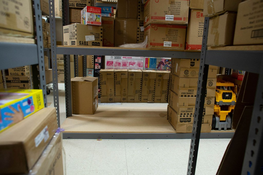 Warehouse with toy boxes