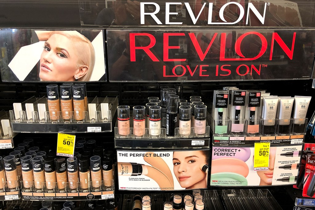 Revlon makeup products displayed on store shelving