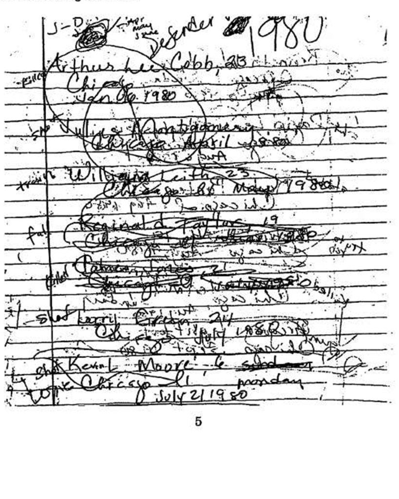 Investigators found handwritten notes from Pierce listing her victims and how they were murdered.