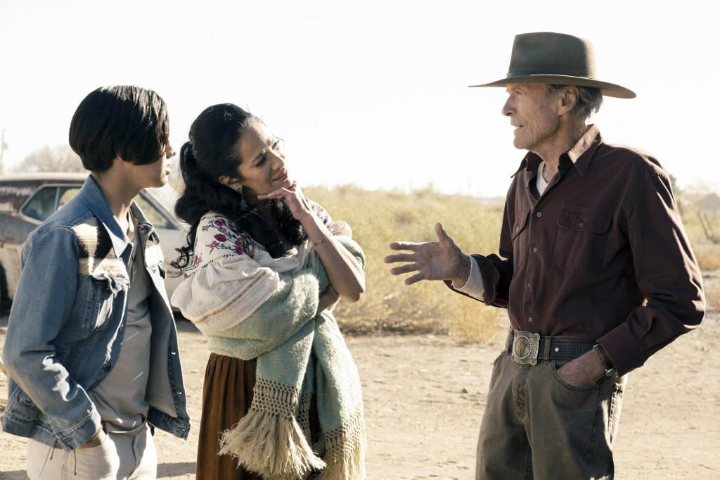 "Eduardo Minett, Natalia Traven, Clint Eastwood in ""Cry Macho."""