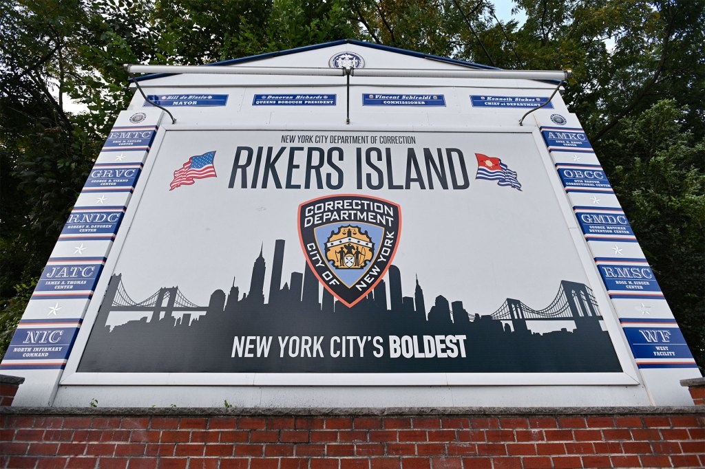 A view of the entrance to Rikers Island prison in Queens, New York.