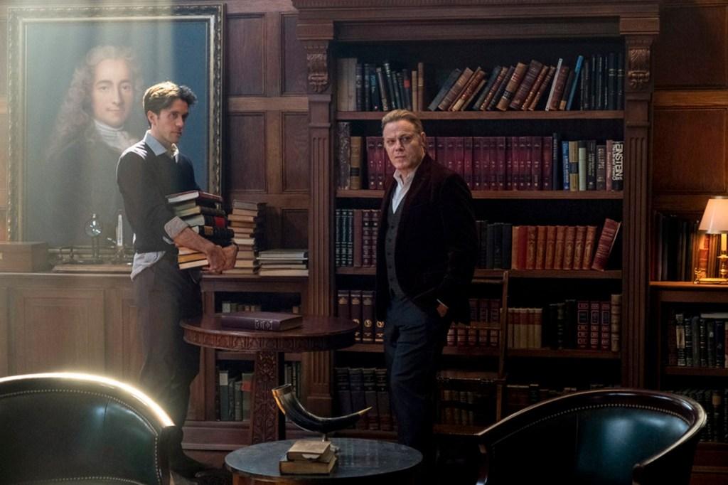 "Robert Langdon (Ashley Zukerman), left, and his friend Peter Solomon (Eddie Izzard, right), in ""The Lost Symbol."""