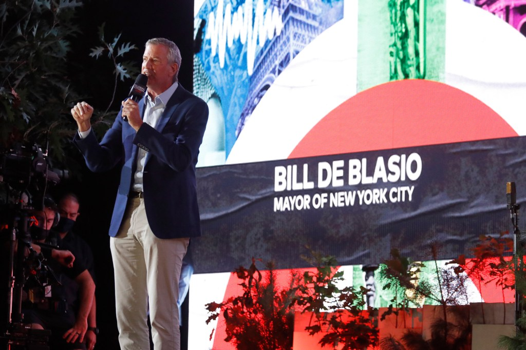 NYC Mayor Bill de Blasio speaks onstage during Global Citizen Live, New York on September 25, 2021 in New York City. (Photo by John