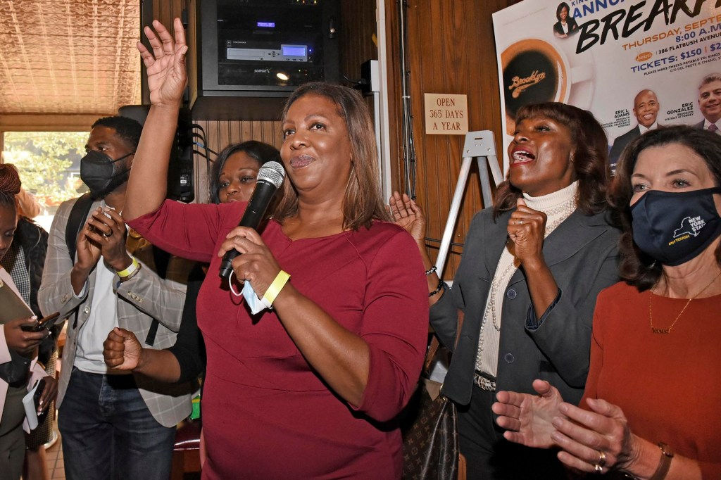 New York Attorney General Letitia James speaking at the fundraiser breakfast.