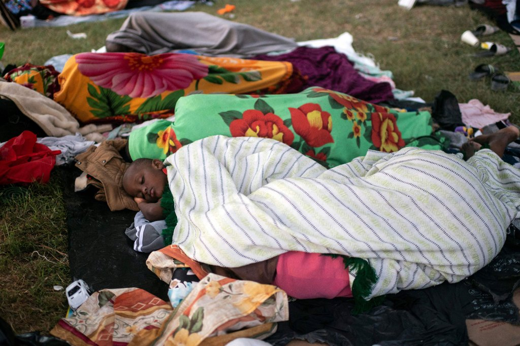 Haitian migrants rest at a shelter in Ciudad Acuna, Coahuila state, Mexico.