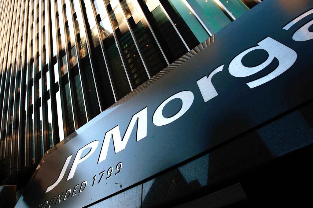 JPMorgan sign on bank building