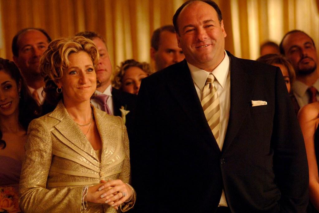 "Edie Falco and James Gandolfini in a ""Sopranos"" scene."