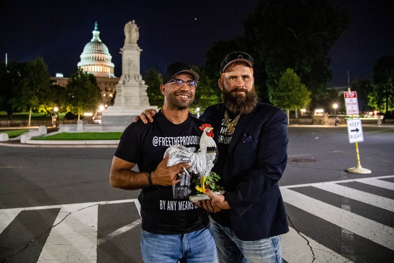 Tarrio, left, poses for a photo with another Proud Boy in front of the United States Capitol on Sept. 6, 2021.