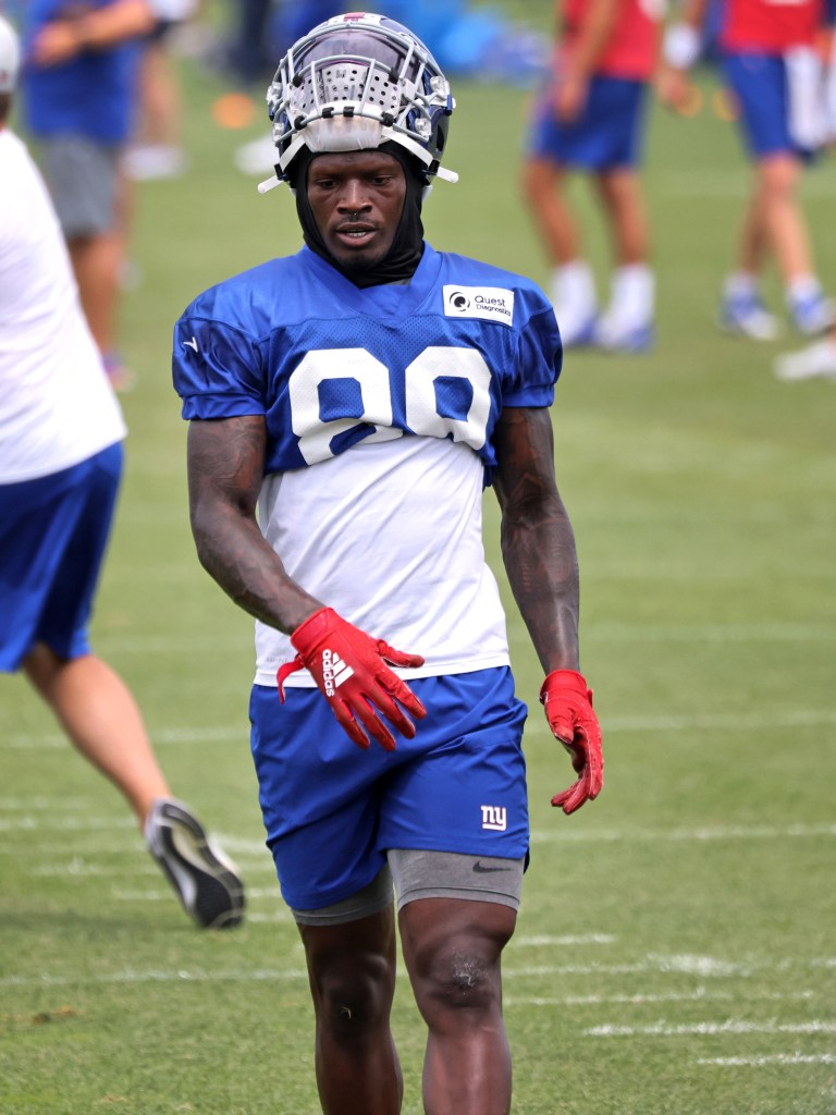 Kadarius Toney at Giants practice on Aug. 9, 2021.