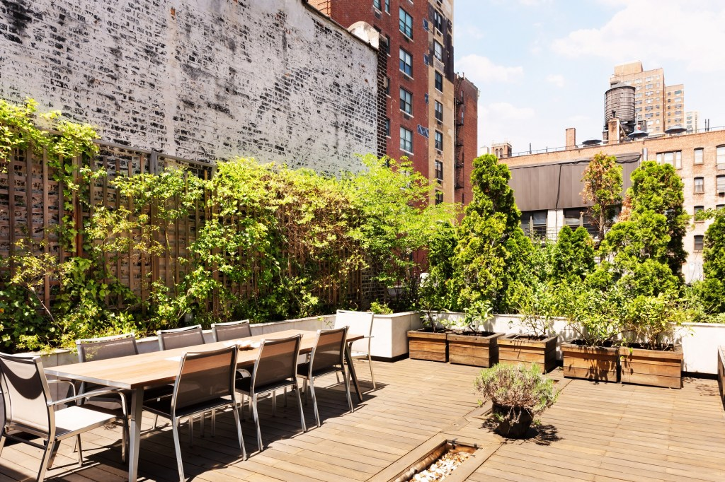 A roof deck at 118 East 83rd Street.
