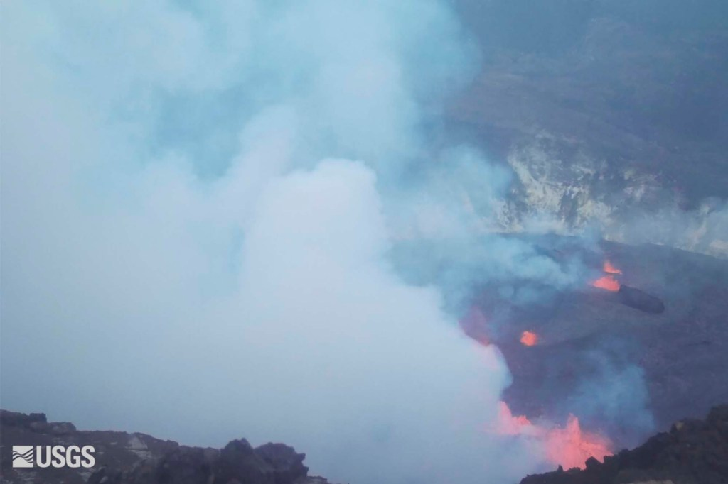 An eruption begins in the Halemaumau crater at the summit of Hawaii's Kilauea volcano.
