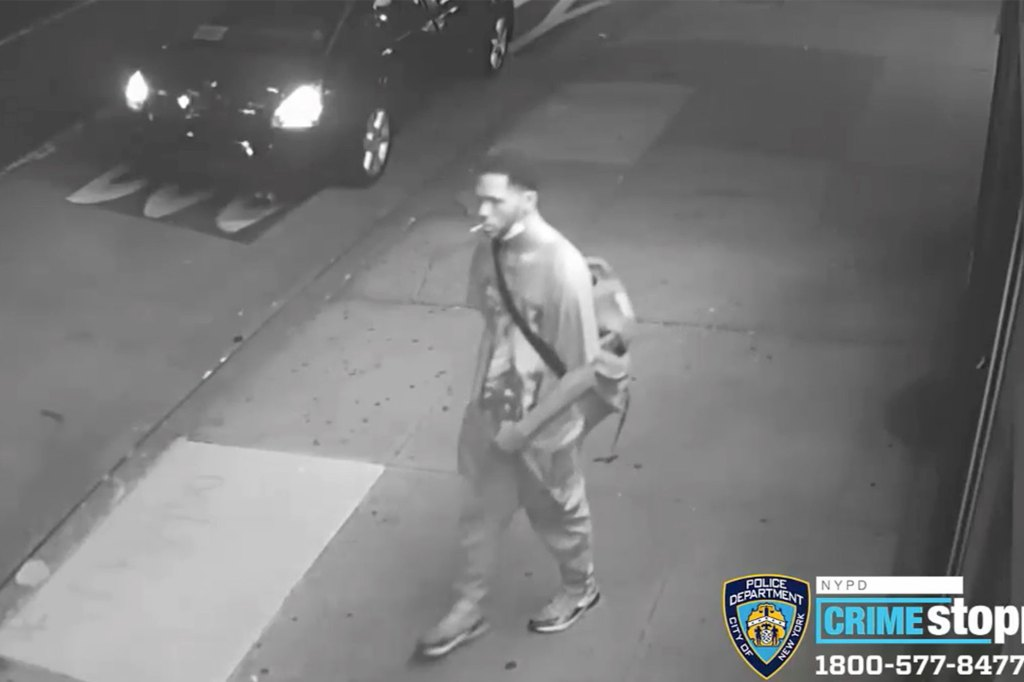 The suspect is caught on security camera footage.
