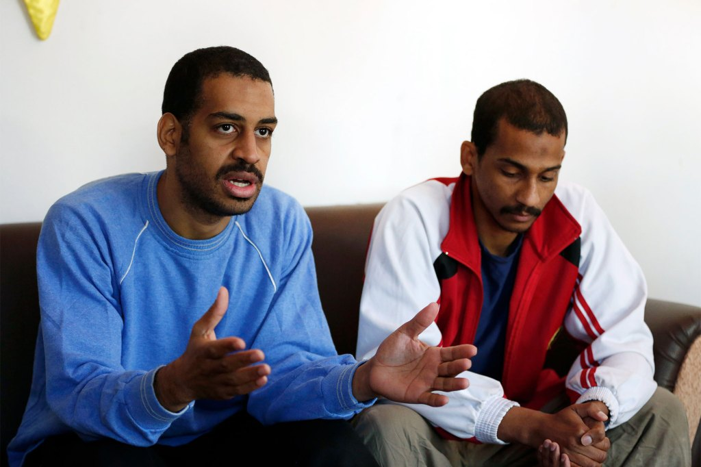 Syrian Democratic Forces captured Alexanda Amon Kotey (left) and El Shafee Elsheikh in January 2018.